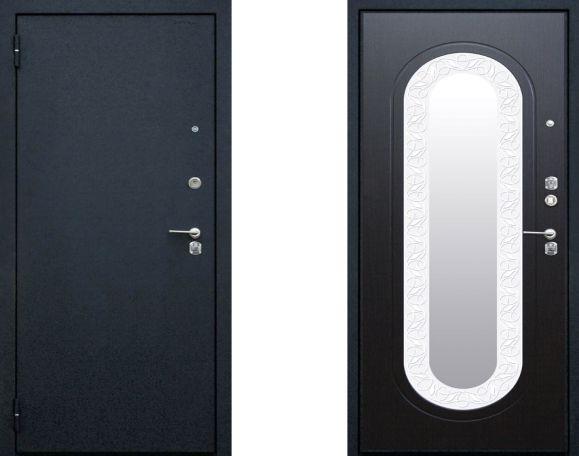 металлические двери антик черный шелк с зеркальными вставками